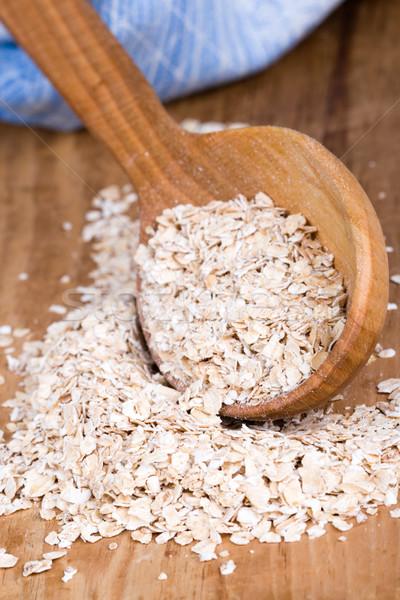 Zab pelyhek fakanál közelkép fából készült fa Stock fotó © marylooo