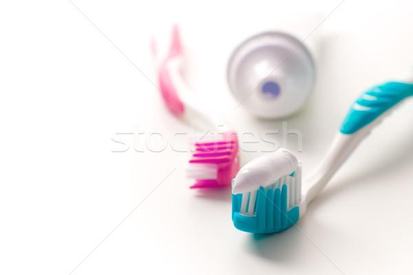Diş macunu diş bakımı güzellik tıp banyo Stok fotoğraf © marylooo