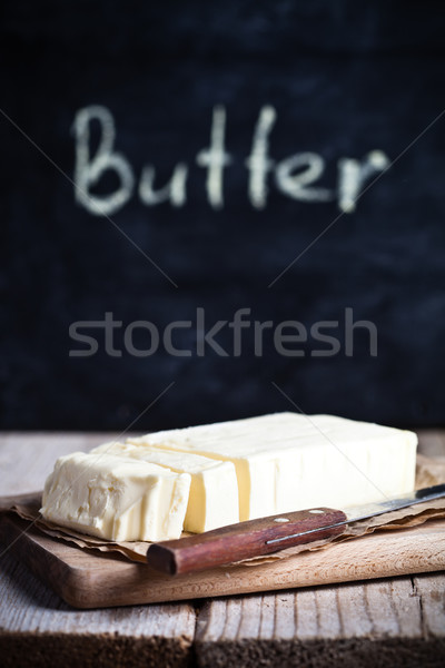 fresh butter and blackboard  Stock photo © marylooo