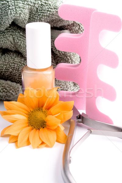 Pedicure schoonheid ingesteld bloem handdoek witte Stockfoto © marylooo
