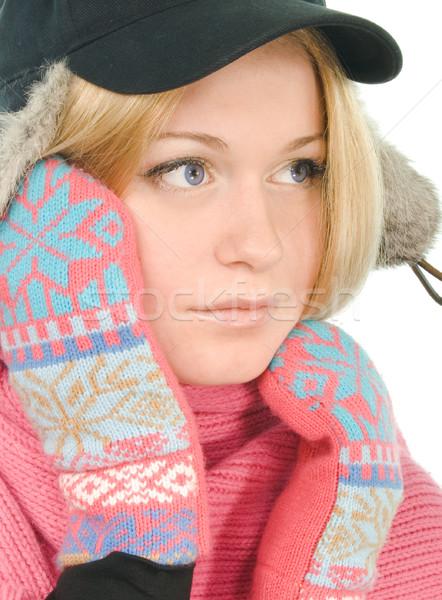 Szőke nő szőr sapka csinos rózsaszín sál Stock fotó © marylooo