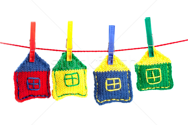 four knitted colorful houses  Stock photo © marylooo