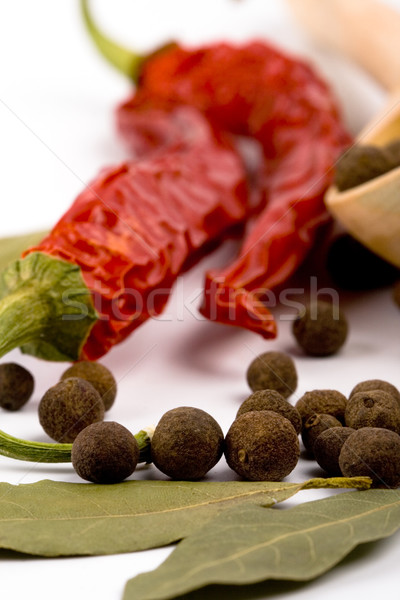 spices: bay leaves, pepper, pimento Stock photo © marylooo