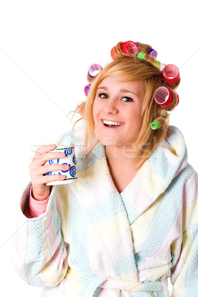 housewife with curlers and cup Stock photo © marylooo