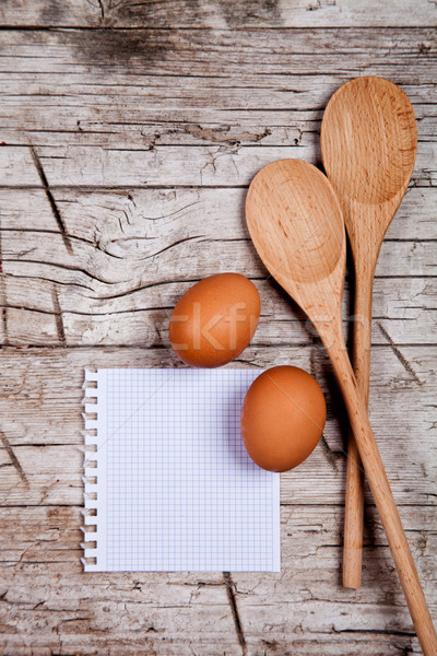 eggs, spoons and blank paper Stock photo © marylooo