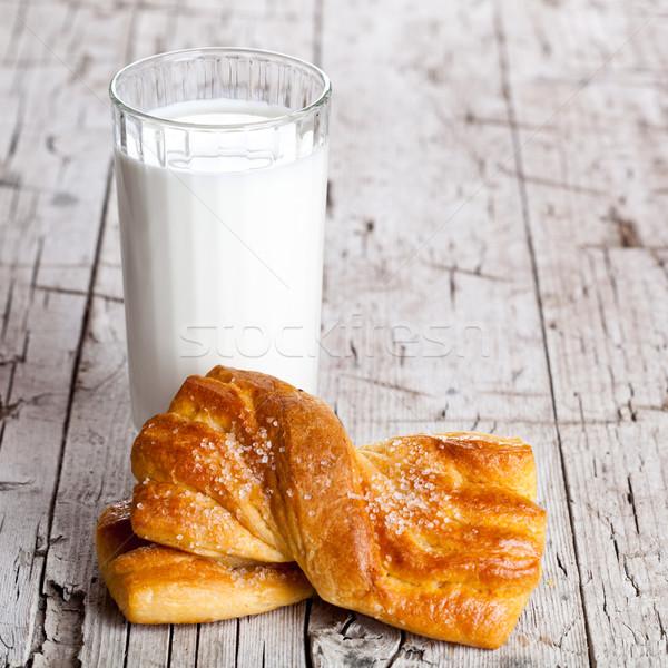 glass of milk and fresh baked buns Stock photo © marylooo