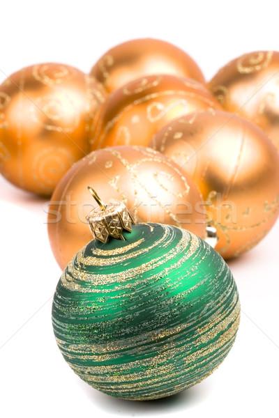 green and golden glass christmas balls Stock photo © marylooo