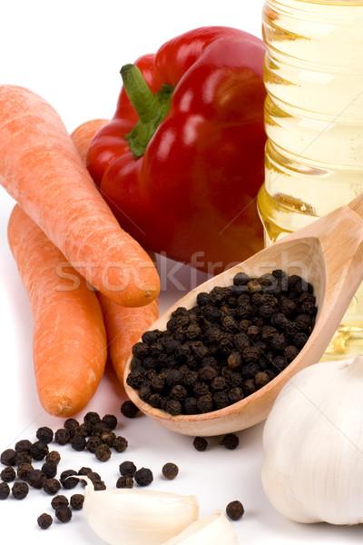 Légumes pétrolières carottes rouge paprika ail Photo stock © marylooo