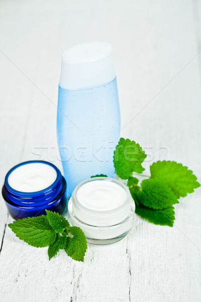 face cream and lotion with urtica leaves Stock photo © marylooo