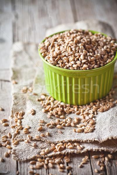 Grano grano ciotola rustico legno alimentare Foto d'archivio © marylooo