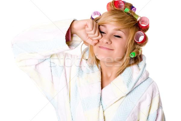 housewife with curlers Stock photo © marylooo