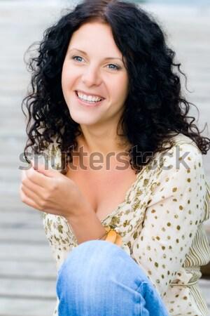 Femme perle perles portrait séduisant Photo stock © marylooo