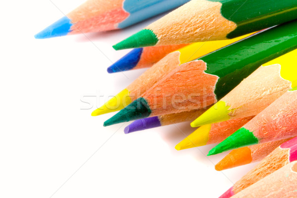 Couleur crayons blanche bureau enfants Photo stock © marylooo