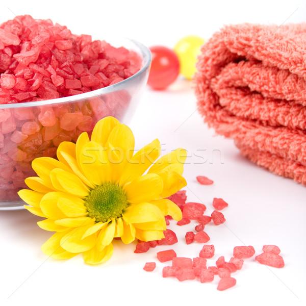 Fürdősó törölköző virág törölközők sárga virág egészség Stock fotó © marylooo