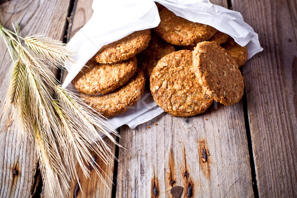 Croccante avena cookies orecchie fresche rustico Foto d'archivio © marylooo