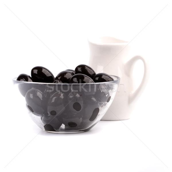 çanak siyah zeytin yağ beyaz meyve Stok fotoğraf © marylooo