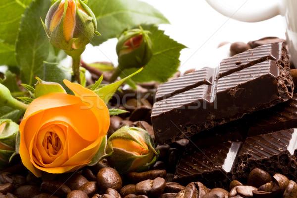 шоколадом кофе корицей желтый цветок продовольствие Сток-фото © marylooo