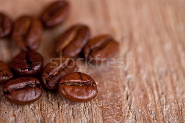 Stock fotó: Friss · kávé · rusztikus · fa · deszka · makró · kép