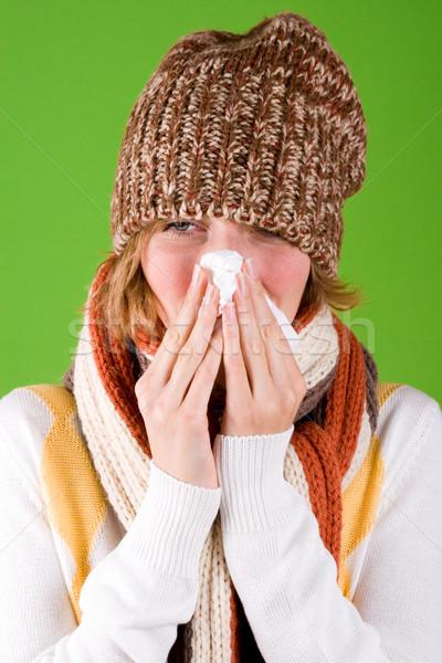 Vrouw zakdoek portret groene gezondheid achtergrond Stockfoto © marylooo