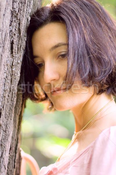 Infeliz mujer árbol retrato edad ojo Foto stock © marylooo