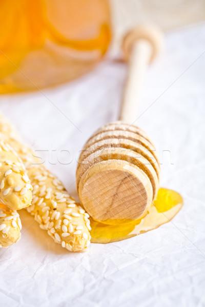Szezámmag méz kenyér reggeli eszik kanál Stock fotó © marylooo