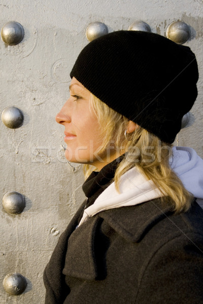 The blonde on a background of a silvery wall Stock photo © marylooo