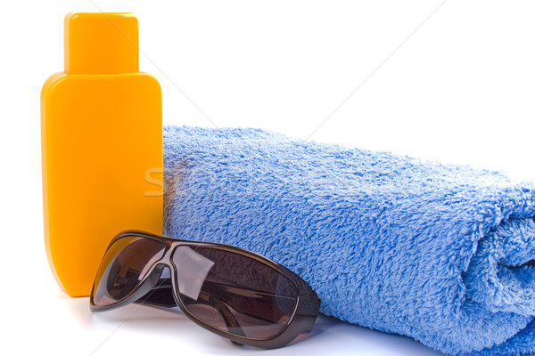 towel, sunglasses and lotion Stock photo © marylooo