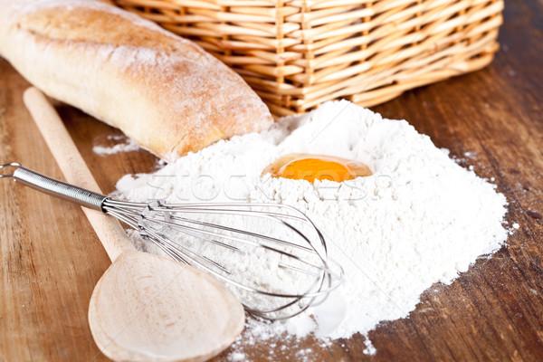 bread, flour, eggs and kitchen utensil  Stock photo © marylooo