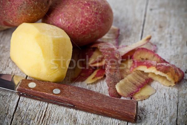 Saine organique pelé pommes de terre bois alimentaire Photo stock © marylooo