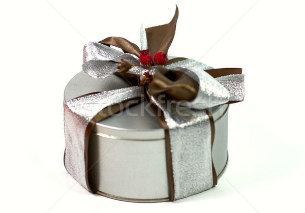 metal gift box with beautiful bow Stock photo © marylooo