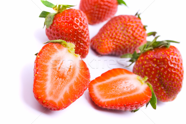 Fraîches fraises blanche nature fruits Photo stock © marylooo