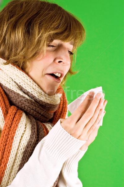 cold girl sneezes  Stock photo © marylooo