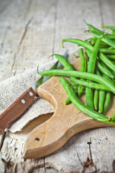 green string beans and knife Stock photo © marylooo