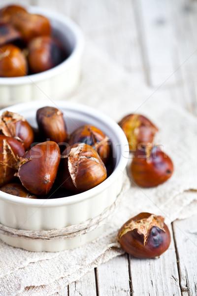 Bols bois alimentaire fond cuisine Photo stock © marylooo