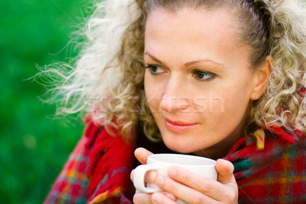 Mulher copo bela mulher bebida quente água Foto stock © marylooo