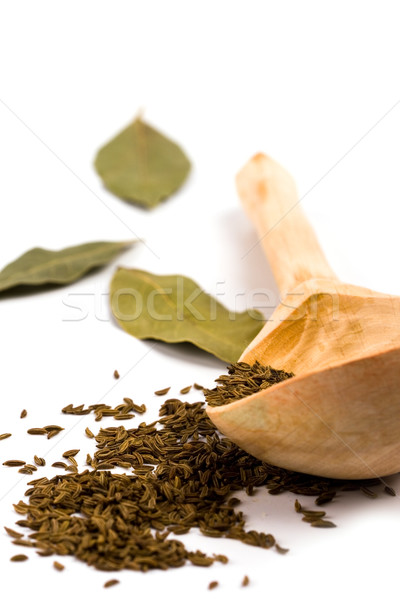 cumin on wooden spoon and bay leaves Stock photo © marylooo