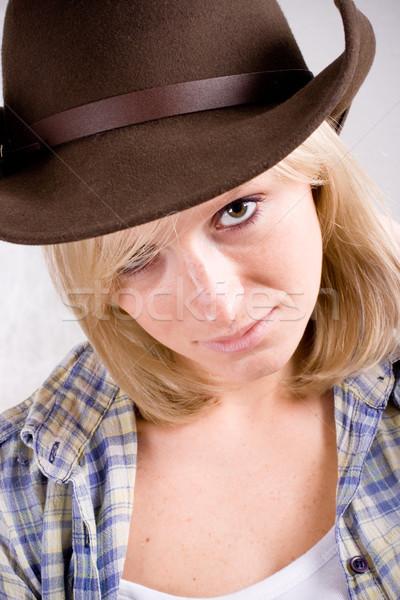 Bella occidentale donna primo piano ritratto cowboy Foto d'archivio © marylooo