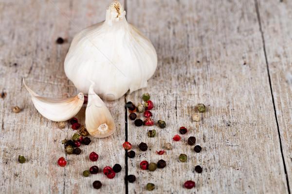 fresh garlic and peppercorns Stock photo © marylooo