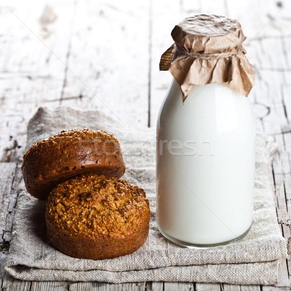 bottle of milk and fresh baked bread Stock photo © marylooo