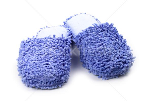 Blu pantofole isolato bianco sonno bagno Foto d'archivio © marylooo