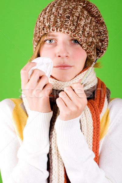 женщину носовой платок термометра портрет зеленый здоровья Сток-фото © marylooo