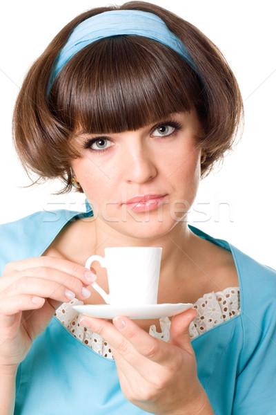 woman enjoying a cup of coffee Stock photo © marylooo