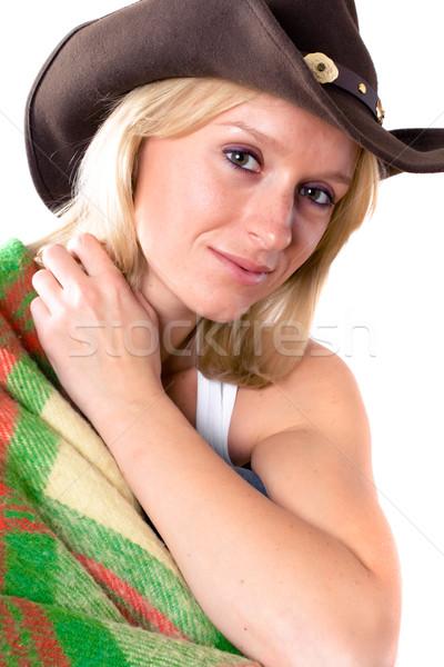 Ragazza cappello da cowboy bella ragazza primo piano faccia Foto d'archivio © marylooo