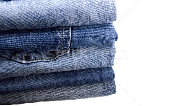 Farmernadrág boglya fehér textúra divat kék Stock fotó © marylooo