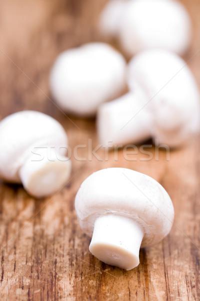 Stock fotó: Friss · champignon · fából · készült · egészség · étterem · fehér
