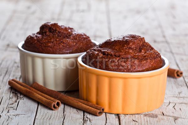 Stock fotó: Kettő · friss · sült · torták · fahéj · rusztikus
