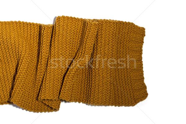 Trykotowy żółty szalik odizolowany biały moda Zdjęcia stock © marylooo