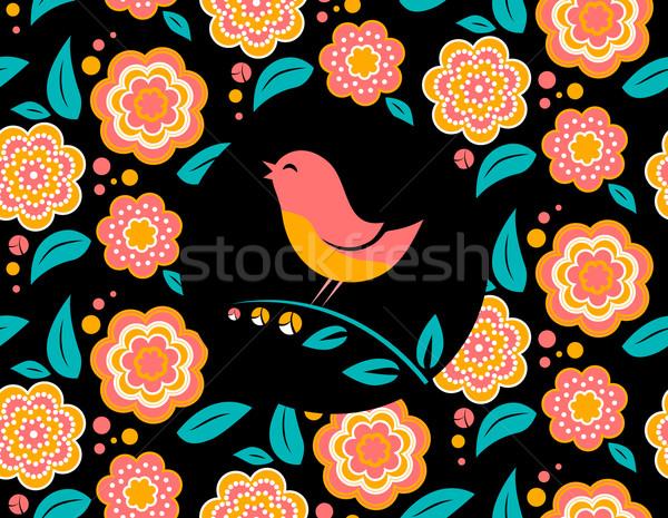 Kwiat ptaków śpiewu czarny Zdjęcia stock © MarySan