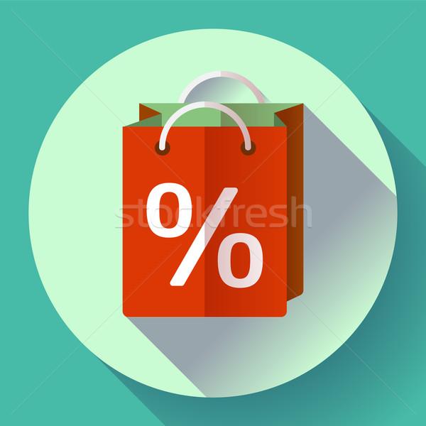 Vetor bolsa de compras ícone projeto estilo percentagem Foto stock © MarySan