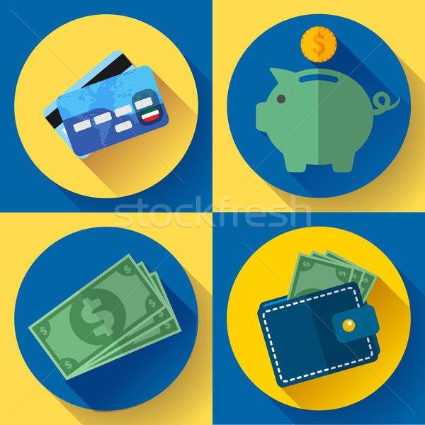 Vektör cüzdan kredi kartı para uzun Stok fotoğraf © MarySan